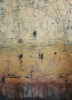 SOLD Cave One, 48 x 36, plaster / paint / glaze on canvas by Debra Corbett at a Scottsdale art gallery