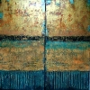 SOLD Golden Doors, 48 x 48, plaster / paint / glaze on canvas by Debra Corbett at a Scottsdale art gallery