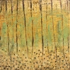 SOLD Golden Forest, 40 x 40, plaster / paint / glaze on canvas by Debra Corbett at a Scottsdale art gallery