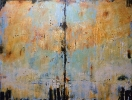 SOLD Light path, 48 x 36, plaster / paint / glaze on canvas by Debra Corbett at a Scottsdale art gallery
