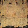 Shroud II, 30 x 30, plaster / paint / glaze on canvas by Debra Corbett at a Scottsdale art gallery