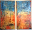 SOLDSouth of the Border diptych, 24 x 24, plaster / paint / glaze on canvas by Debra Corbett at a Scottsdale art gallery