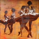 "SOLD 4 Ballerinas, 60 x 60"" oil"