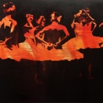 7 Ballerinas in Orange, 48x60