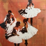 SOLD Les Soeurs du Ballet (before after), 60x60""