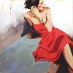 SOLD Red Dress, oil, 36x36