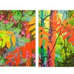 SOLDGlimpses - Red Sumacs, 4, 13x13 each, oil on canvas