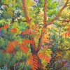 SOLD Red Sumacs I, 48 x 48, Oil on Canvas, by Frank Balaam at a Scottsdale art gallery