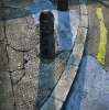 Bollard, oil on canvas by Mick Dean at a Scottsdale art gallery