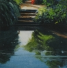 Steps to the River Clare, Suffolk oil on canvas by Mick Dean at a Scottsdale art gallery