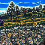 SOLD Spring Daisies on the Mountain 24 x 24