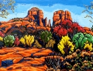 SOLD Fall Colors at Cathedral Rock - Sedona, 36 x 48, oil on canvas by Neil Myers at a Scottsdale art gallery