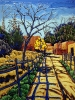 - SOLD - Fence Shadows Santa Fe, oil on canvas by Neil Myers at a Scottsdale art gallery
