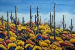 - SOLD - Saguaros with Blooming Brittlebush, oil on canvas by Neil Myers at a Scottsdale art gallery