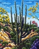 <b>SOLD</bTwin Saguaros Afternoon Light, 24 x 30, Oil on Canvas by Neil Myers at a Scottsdale art gallery