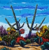 <b>SOLD</bTwo Leaning Saguaros, 24 x 24, Oil on Canvas by Neil Myers at a Scottsdale art gallery
