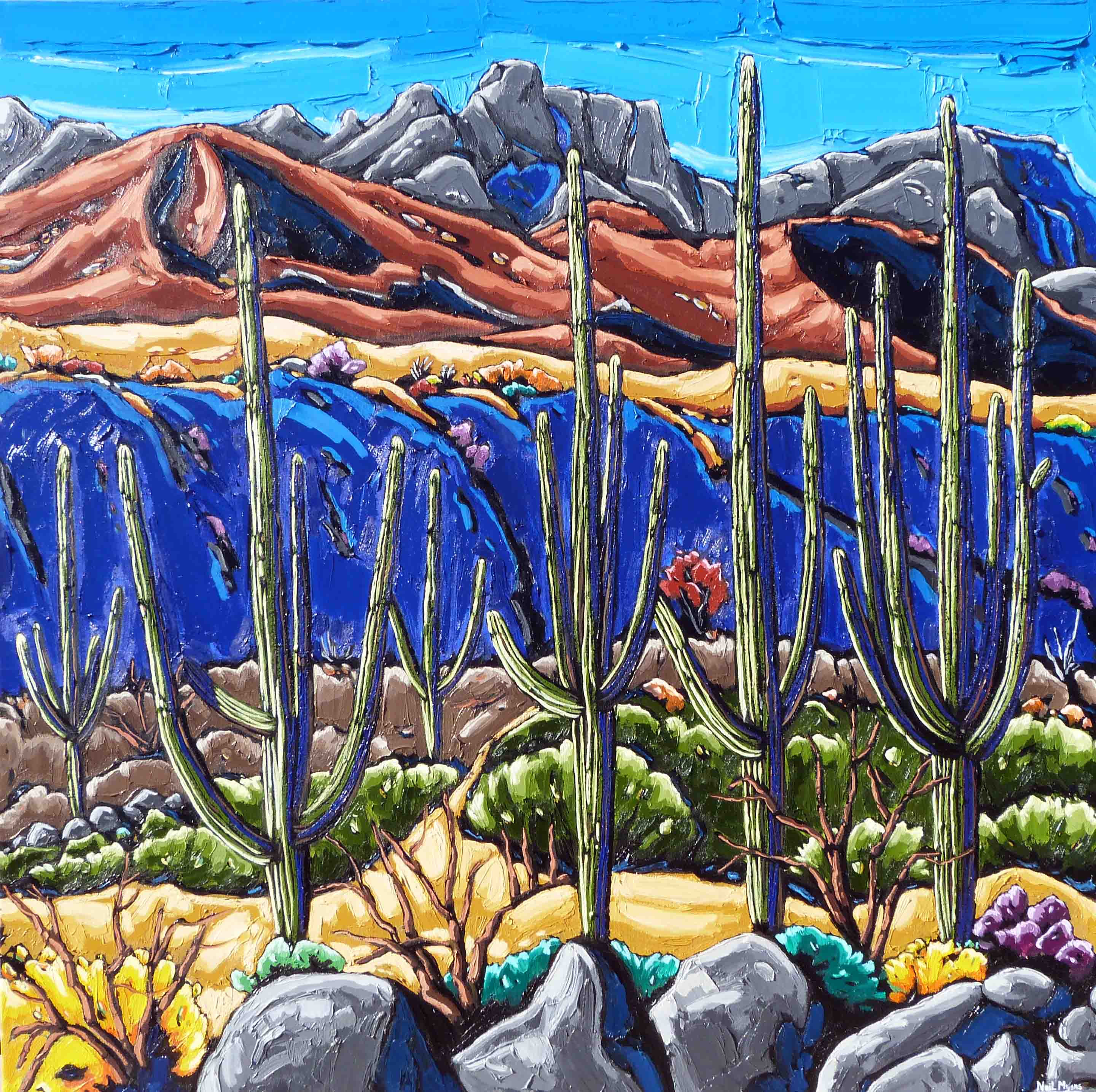 Looking Towards Pusch Ridge oil on canvas by Neil Myers for a Scottsdale art gallery