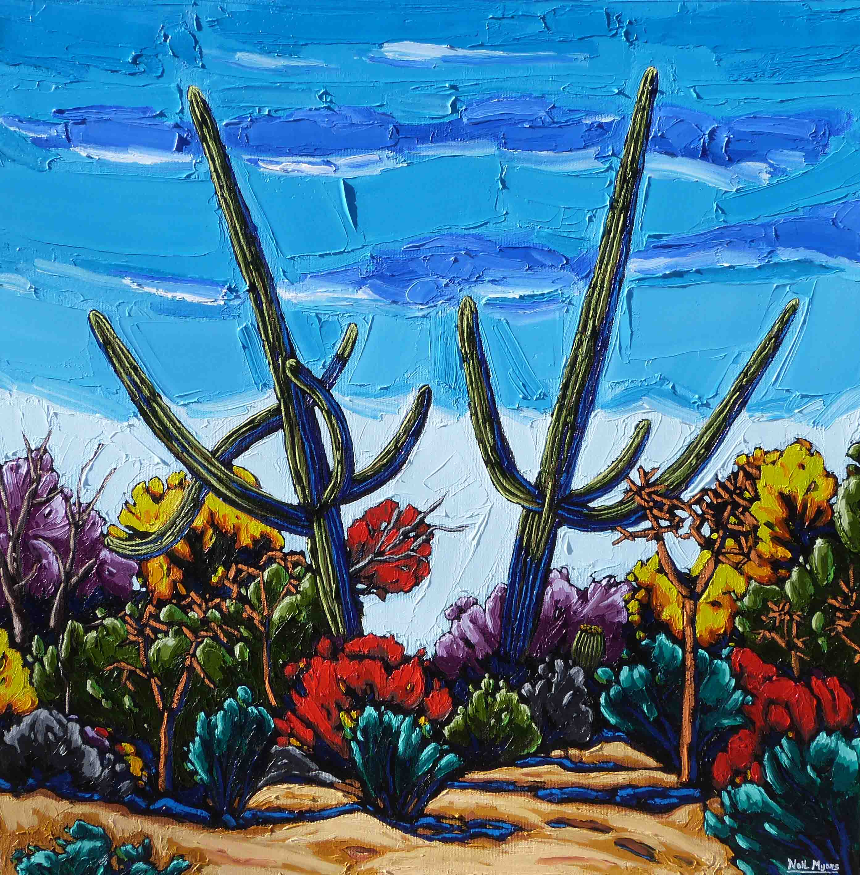 Two Leaning Saguaros oil on canvas by Neil Myers for a Scottsdale art gallery