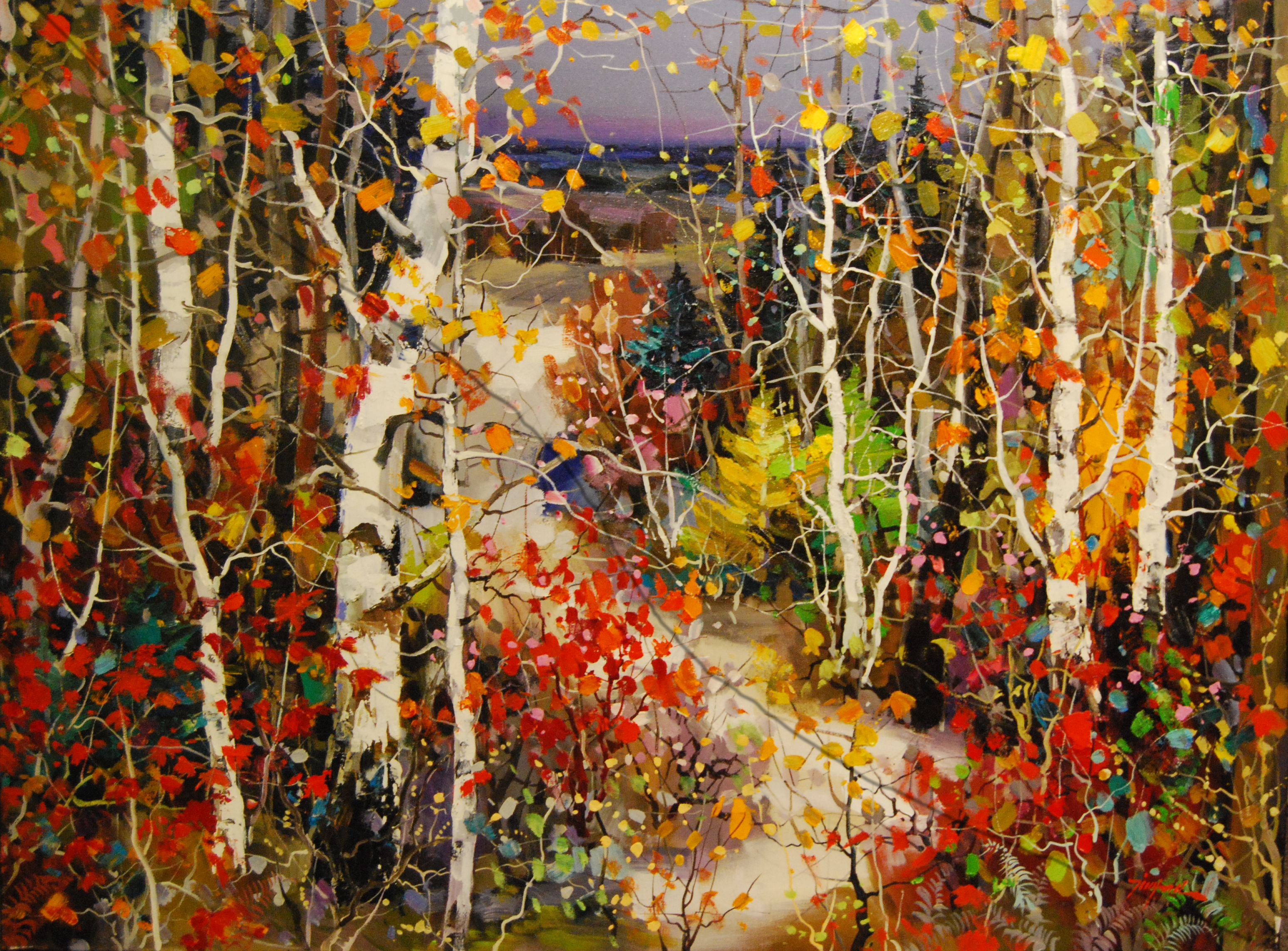 maple and birch in autumn 36 x 48 oil on canvas - Artists